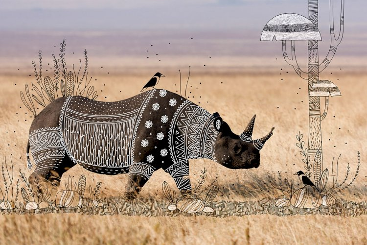 """The Rhinoceros"" creative doodle art idea by Rohan dahotre"